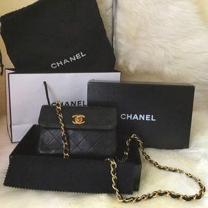 Chanel Nano Mini Flap Lambskin Black Leather